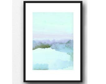 landscape painting, Fine art print landscape watercolor painting blue shore The Dutch Wadden Sea Islands