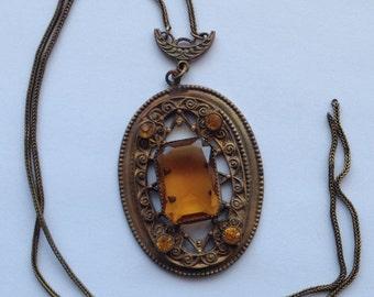 Vintage Large Topaz Rhinestone Pendant Necklace