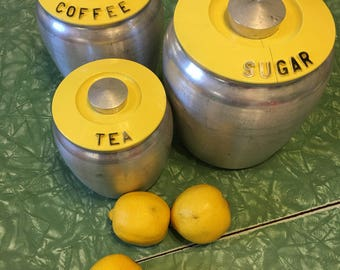 Hard to Find: Yellow Kromex Aluminum Canisters