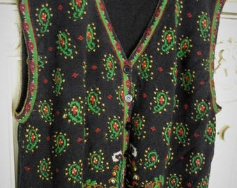 3X Black Decorated Vest/ Paisley Embroidered Cotton Vest/ Plus Size Long Vest/Oversize Sweater Vest/ Shabbyfab Funwear