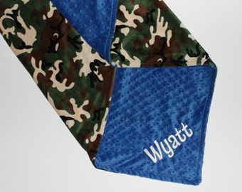 Personalized Double Minky Blanket, Custom Blanket, Camouflage Blanket, Camo Minky Blanket, Baby Blanket, Blue Minky or Choose Color