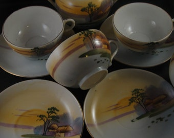 Egg Shell Porcelain Partial Tea Set  - 4 Cups and Saucers and Covered Sugar Bowl Japan Hand Painted