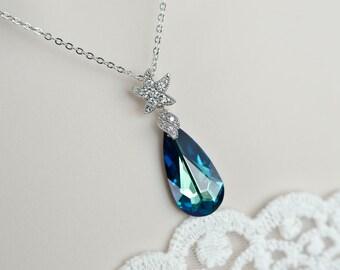 Starfish Bermuda Blue Necklace,Starfish Necklace, Bermuda Blue Necklace, Bridal Necklace, Bridesmaids Necklace, Beach Wedding Destination