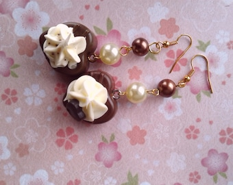 Chocolate Heart Earrings - FAUX Chocolate, deco hearts earrings, Valentines, cosplay, kawaii fake food