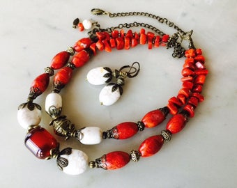 Red sponge coral, white, handmade chunky necklace, earth tone, natural stone, multi strand, antique vintage style, earrings set, gift idea