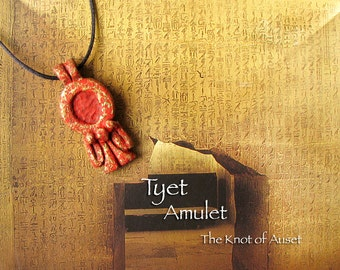 Tyet Amulet - The Knot of Auset - Ancient Egyptian Protective Symbol - Handcrafted Clay Pendant with Red Oxide and Brass Patina Finish
