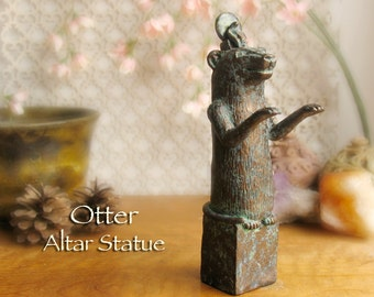 Otter Altar Statue - Egyptian Votive Statue with 20mm Green Serpentine Disc - Handmade Polymer Clay Statue - Aged Bronze Patina Finish