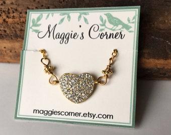 Rhinestone Heart, Heart Necklace, Flashy Heart Necklace, Glam Necklace, Etsy, Etsy Jewelry