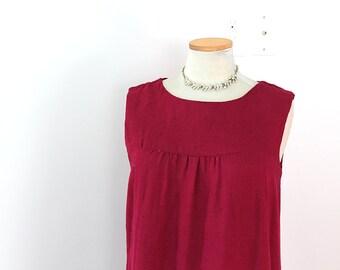 Linen Shift Dress // 1960s Medium