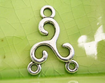 10 silver swirl Celtic connectors charms pendants waves 2 to 1 3 holes 26mm x 18mm - C0730-10
