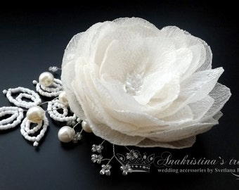 Wedding Hair Flower,Bridal Fascinator,Ivory Bridal Flower Clip,Wedding Hair Accessories, Flower Hair Clip, Fascinator Pearls Bride Headpiece