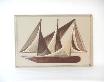Vintage 1960/70s Handmade Sail Boat String Art Wall Hanging/Nautical String Art