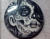25 PERCENT OFF 1 inch Pin Back Button - Epiphany - Day of the Dead Sugar Skull Calavera Tattoo Flash Black and White Portrait Pinback Button