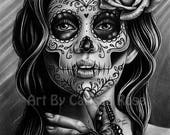 5x7, 8x10, or apprx. 11x14 in Signed Art Print - Serenity - Day of the Dead Sugar Skull Girl Black and White Tattoo Art Portrait