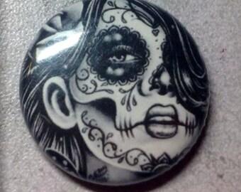 1 inch Pin Back Button - Epiphany - Day of the Dead Sugar Skull Calavera Tattoo Flash Black and White Portrait Pinback Button Accessory