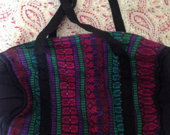 Guatemalan Patterned Zipper Lined Duffle Bag