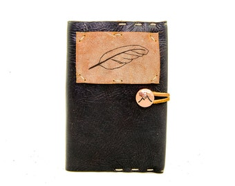 Small Leather Journal with Feather in Midnight Espresso