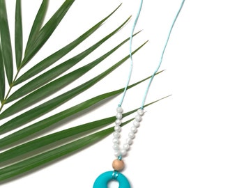 Turquoise & pearl Silicone Teething Necklace for Mom | Silicone Nursing Breastfeeding Necklace | Chew Beads | Babywearing Necklaces Sensory