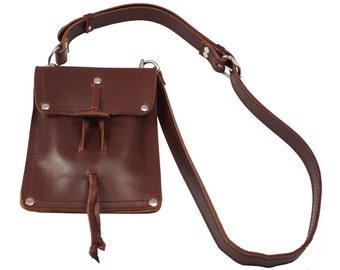 LARGE Leather Pouch Purse, iPad Case, Man Bag - Burgundy