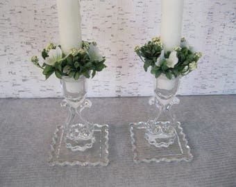 Glass Candle Sticks / Vintage Candle Holders