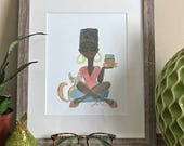 Nneka Reads- African American Art, Yoga Art, Illustration, Black Girl Magic, Art Print, Afro Art Print by LeMahogany Art