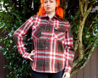 70s/80s Black and Red Plaid Wool Blend Timber Run Flannel Macinaw Hipster Lumberjack Button Up M