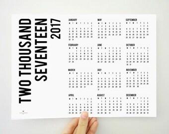 Two Thousand Seventeen Yearly Printable Calendar, 2017 Planner, Wall Calendar, Office Decor, Minimal Calendar, Christmas Gift, PDF