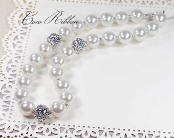 """23"""" Long Chunky Silver White Beads Pearl Bubblegum Necklace for Kid Child baby E04"""