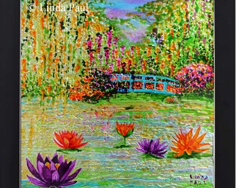 Impressionist Water Lily Pond Hand-Painted Framed Wall Art or Backsplash