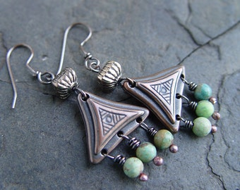 Natural Genuine Turquoise, Copper and Pewter Dangle Earrings