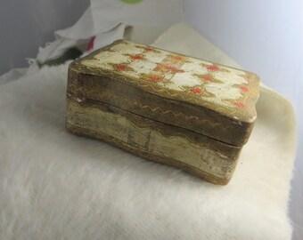 Small Gold Leaf Italian Box Small Italian Gold Leaf Trinket Box Vintage Small Gold Box