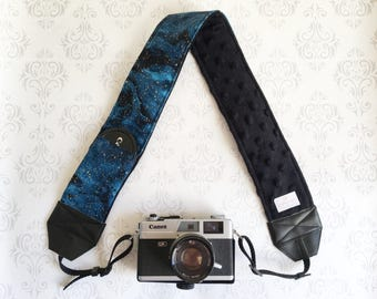 DSLR Minky Camera Strap, Padded with Lens Cap Pocket, Nikon, Canon, DSLR Photography, Photographer Gift, Wedding - Galaxy with Black