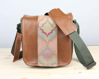Small Pastel Geometric Leather Camera Bag- IN-STOCK