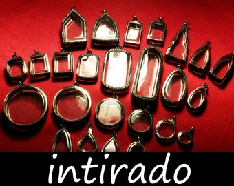 Shadow Box Pendant, Terrarium Necklace, Reliquary, Intirado, Silver Tone, Wholesale, Diorama, Locket, Pendant Supplies, Craft, 25pcs