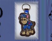 Patrolman Puppy Embroidered Key Fob, Key Chain, Luggage Tag, Bag Clip, Vinyl, Key Ring, Purse Charm