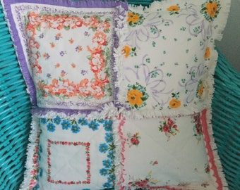 Hanky Pillow Vintage Style Hanky Hankie Handkerchief Mothers Day  Floral Hankies Rag Quilted Pillow Cover