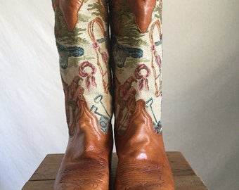 Dan Post 80's Tapestry and Brown Leather Western Cowboy Cowgirl Boots