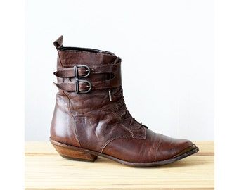 Pointy Buckle Boots 6-6 1/2 • Vintage Boots • Brown Leather Boots • 70s Boots • Leather Ankle Boots • Western Booties | SH319