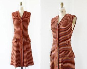 Knit Dress S • Duster Dress • 70s Dress • Button Up Dress • Cotton Dress with Pockets • Stripe Dress • Vintage Dress | D1191