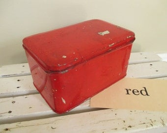 Vintage Red Metal Tin Box with Lid - Small Metal Box - Red Decor - Studio Decor