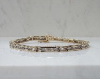 Estate 14K Solid Yellow Gold  And Channel Set Diamond Tennis Bracelet - One Carat of Diamonds!
