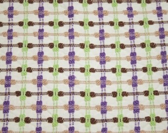 24 x 24 Inches Cheerful Retro Lime Green, Purple, Brown and Tan Bates Vintage Chenille Bedspread Fabric Piece