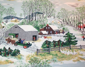 "NOS Unused Mint Condition Grandma Moses ""Early Springtime on the Farm"" Vintage Barkcloth — 46 x 29 Inches — 4 Repeats of Design"