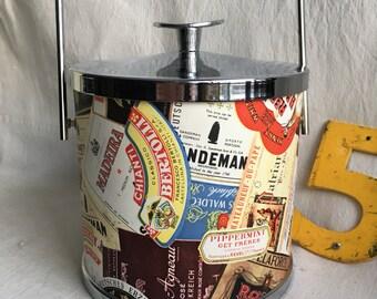 Vintage Serv-Master ice bucket  mad men barware  vintage advertising barware