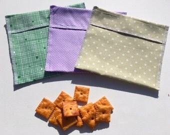 Reusable Snack Bag Set FREE SHIPPING Set of 3 Purple Green Dots