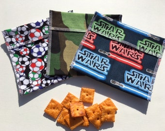Boys Reusable Snack Bag Set FREE SHIPPING Set of 3 Soccer Star Wars Camo