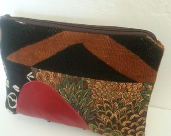 African Mud Cloth Fabric Clutch Purse, Red Leather Clutch, Oversized Clutch, African Handbag