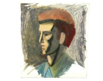 Vintage Portrait Man Profile Impressionist Modernist Amateur Art Pompador Elvis Plywood Retro Funky