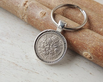 1957 Sixpence Keyring, Lucky Sixpence Coin Resin Keychain,  1957 Date, 60th Birthday Anniversary, Coin Keyring, Coin in Resin, UK, 730