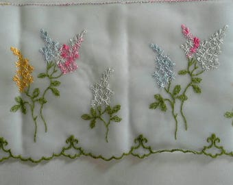Colorful Floral Embroidered Sewing Trim 4 1/2 Yards by 5  Inches Wide L0605
